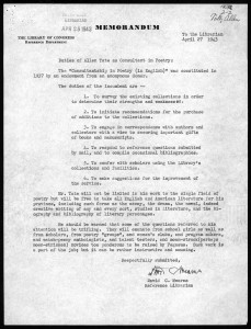 1943 memorandum from David C. Mearns to Archibald MacLeish explaining the duties of the Consultant in Poetry