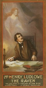 "Poster for ""The Raven: The Love Story of Edgar Allan Poe,"" by George Hazelton (1908)"