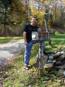 Peter Armenti in front of The Frost Place in Franconia, NH.