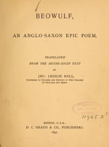 Title Page, Beowulf, An Anglo-Saxon Epic Poem