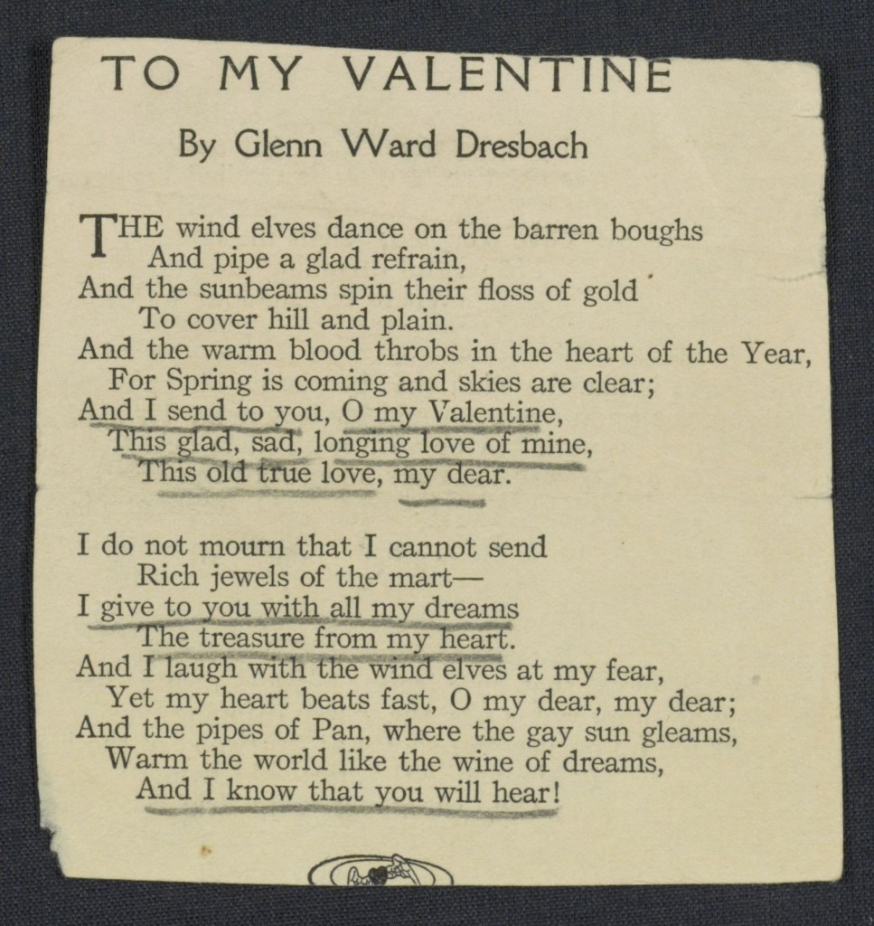 "Glann Ward Dresbach, ""To My Valentine,"""