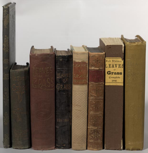 First editions of Leaves of Grass published during Walt Whitman's life. From left to right: Brooklyn: 1855; Brooklyn: 1856; Boston: 1860-1861; New York: 1869; Washington: 1871; Camden, New Jersey: 1876; Boston: 1881-1882; Philadelphia: 1888; Philadelphia: 1891-1892 Rare Book & Special Collections Division, Library of Congress.