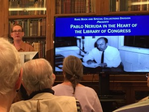 Bill Fisher discusses Pablo Neruda in the Lessing J. Rosenwald Room, Jefferson Building, Library of Congerss. July 9, 2015. Photo by Peter Armenti.