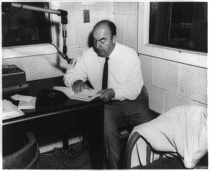 "Chilean poet Pablo Neruda in the Library of Congress Recording Laboratory during the recording of his poem ""Alturas de Macchu Picchu"" for the Archive of Hispanic Literature on Tape. June 20, 1966. Prints and Photographs Division."