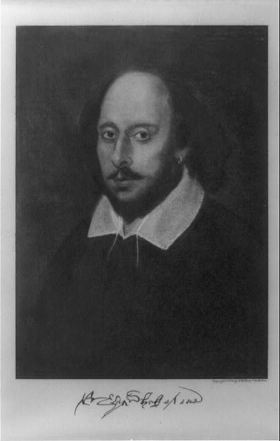 Reproduction of the painting of the Chandos portrait of Shakespeare. Prints and Photographs Division.