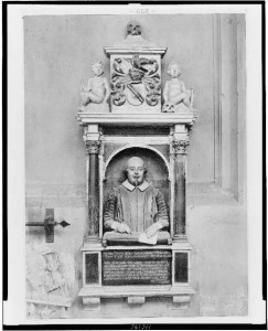 Half-length statue of William Shakespeare, marking his grave site in Trinity Church, Stratford-upon-Avon [between 1880 and 1930]. Prints and Photographs Division.