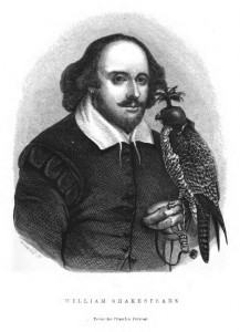 Image of Shakespeare with bird from: The birds of Shakespeare; critically examined, explained, and illustrated by James Edmund Harting. London : J. Van Voorst, 1871.