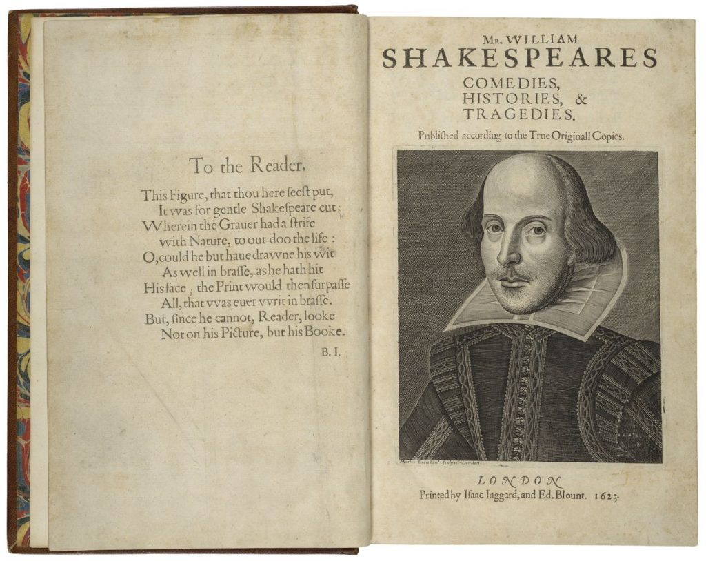 Preface and title page, Mr. William Shakespeares comedies, histories, & tragedies. Published according to the True Originall Copies. [First Folio of Shakespeare]. World Digital Library. https://www.wdl.org/en/item/11290/