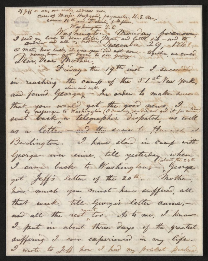 Walt Whitman to Louisa Van Velsor Whitman, December 29, 1862. Holograph letter, page 2. Walt Whitman Papers in the Charles E. Feinberg Collection, Manuscript Division.