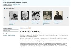 Home page, Archive of Recorded Poetry and Literature
