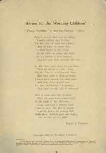 """Hymn for the Working Children"" by Fanny J. Crosby"