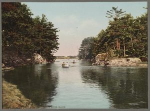 """Picnic Rocks, Kennebunk River, Maine."" Detroit Publishing Co., c1900."