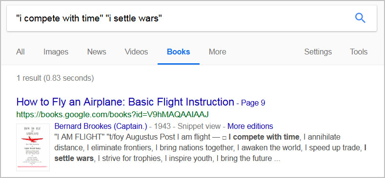 "Google Books results for ""i compete with time"" ""i settle wars"""