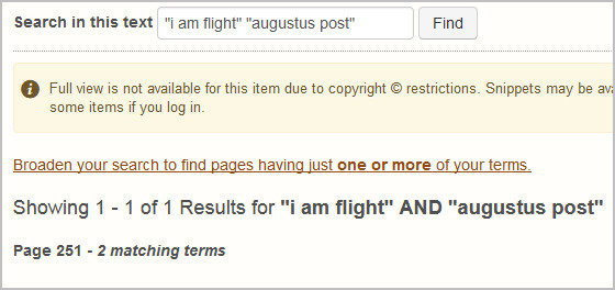 "HathTrust ""Search in this text"" results show page 251 of Flying Vistas includes the phrases ""i am flight"" and ""augustus post."""