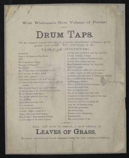 Advertising flyer for Drum-Taps, Walt Whitman's collection of Civil War poetry. Feinberg-Whitman Papers, Manuscript Division. //hdl.loc.gov/loc.mss/ms004014.mss18630.00454 (image 2 of 6).