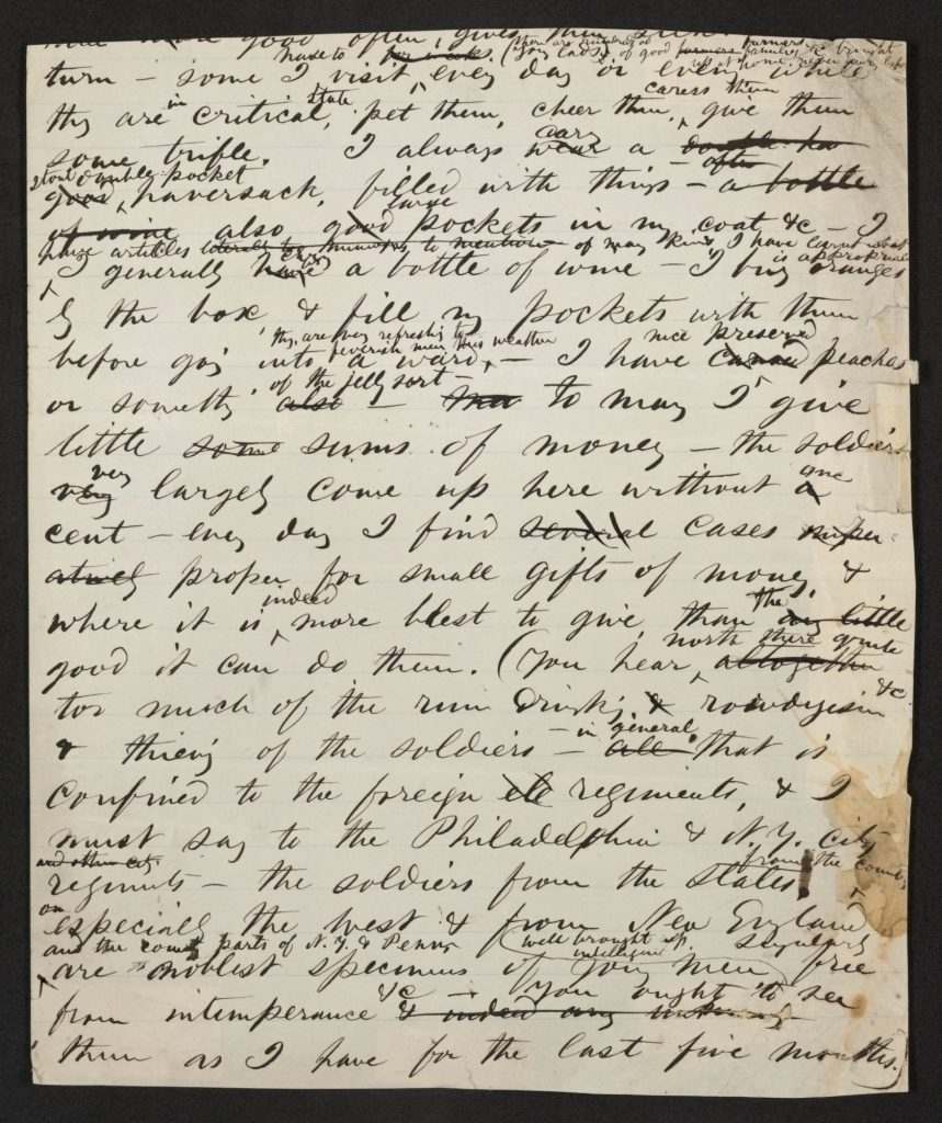 "Walt Whitman, ""In the Hospital Wards"" draft page. Feinberg-Whitman Papers, Manuscript Division. //hdl.loc.gov/loc.mss/ms004014.mss18630.00874 (image 5 of 5)"
