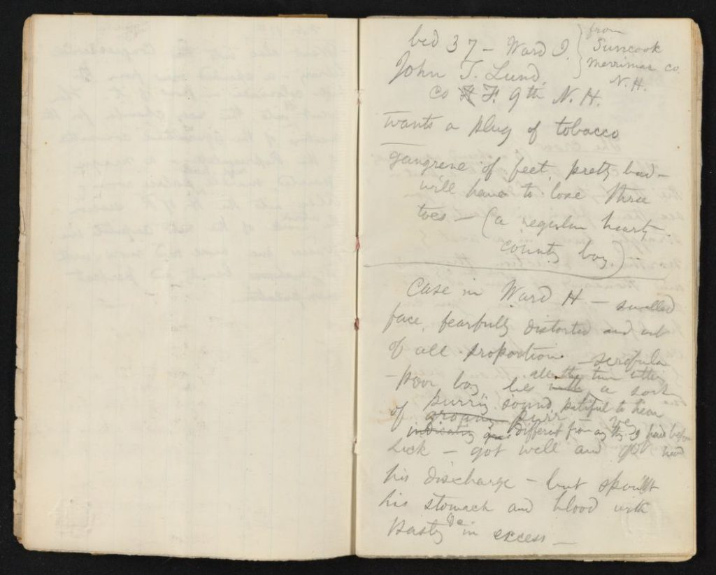 Walt Whitman, Washington notebook, 1863. Feinberg-Whitman Papers, Manuscript Division. //hdl.loc.gov/loc.mss/ms004014.mss18630.00005 (image 6 of 34).