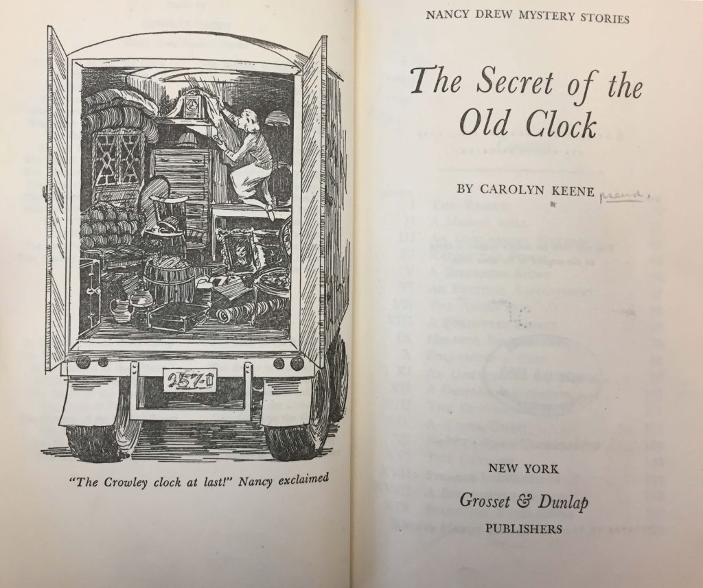 Frontispiece and title page of Carolyn Keene's [pseud.] The Secret of the Old Clock. (New York, Grosset & Dunlap, c1959).