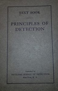 Cover of Elementary Course of the Principles of Detection.... Young, H. G. (1914). New York: National School of Detectives.