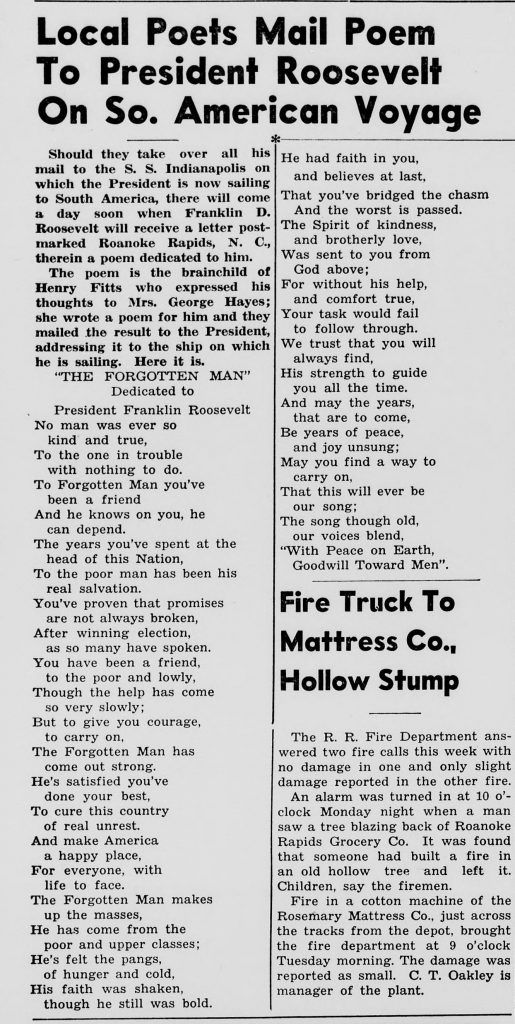 """Local Poets Mail Poem to President Roosevelt on So. American Voyage."" Roanoke Rapids Herald (N.C.). November 19, 1936: 6. From Chronicling America."
