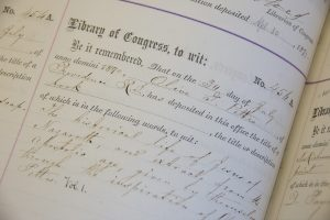 Image of registration record for Registration #456, the first work registered with the Copyright Office submitted by a woman for a work she created.