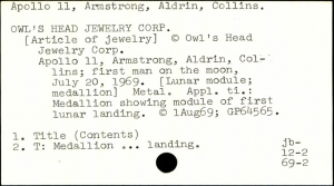 VCC copyright registration card for a medallion inspired by Apollo 11.
