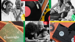 Celebratory photos of Black families and copyrightable materials like music and books