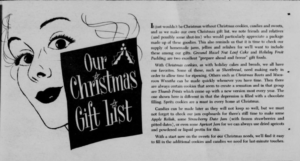 "Newspaper clipping ""Our Christmas Gift List"""