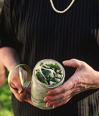 Hands holding a jar of ramps.