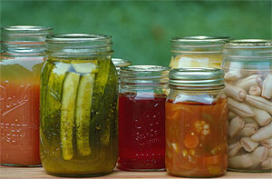 Jars of pickles, relish, juice.