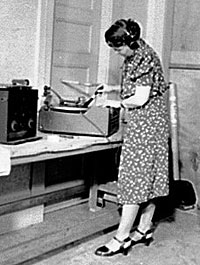 Sidney Robertson Cowell with disc recording equipment