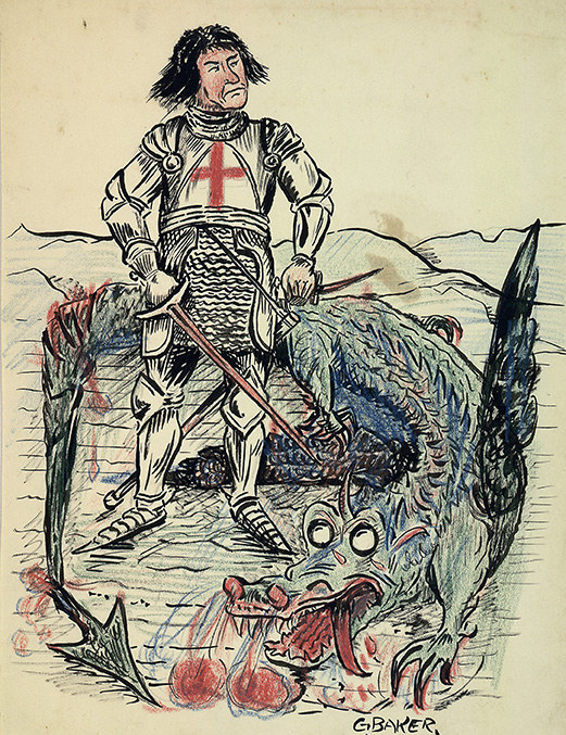 A drawing of a knight in armor standing over the body of a slain dragon.