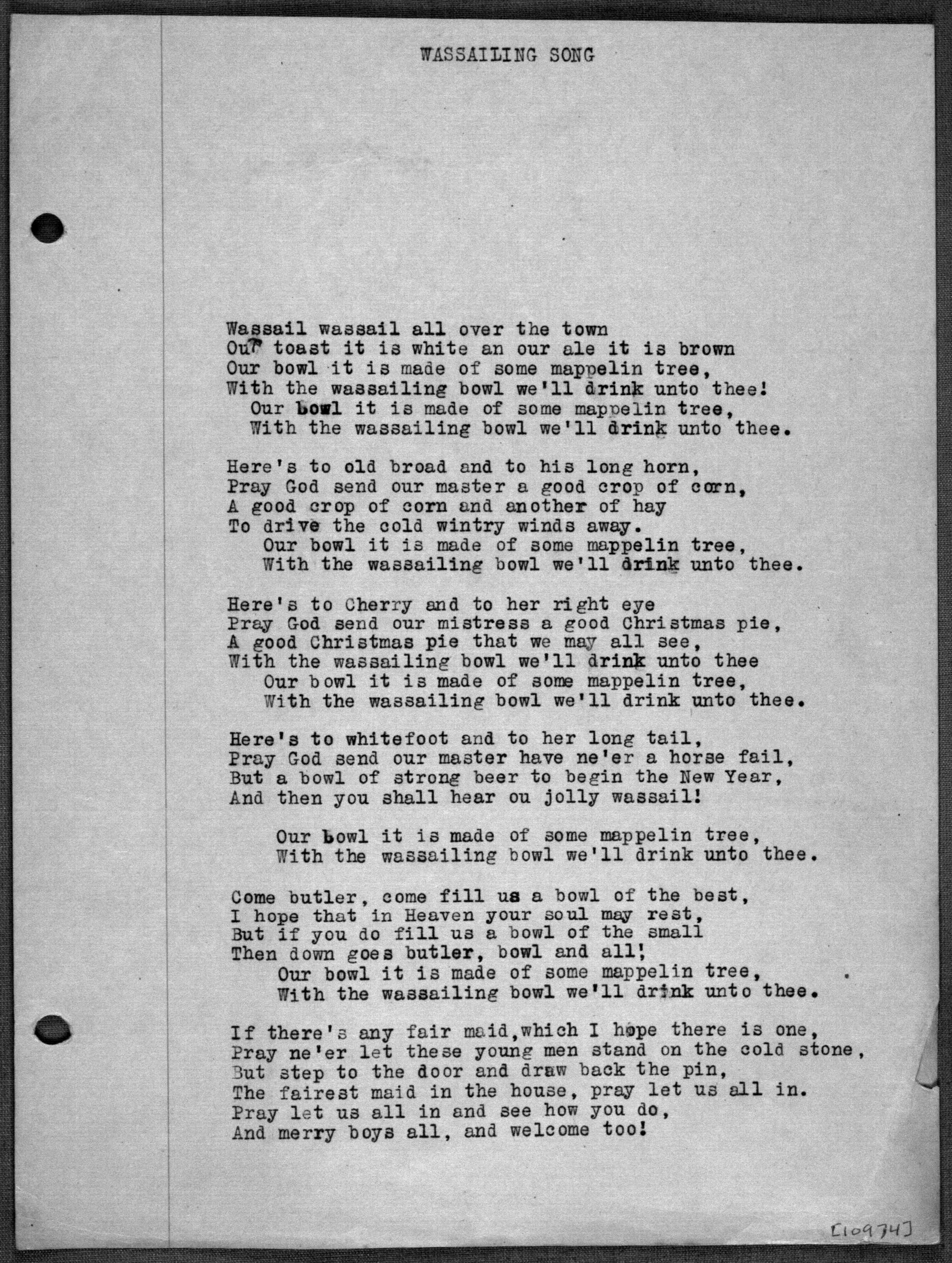 "A photocopy of lyrics to the ""The Gloucestershire Wassail"" as found in the James Madison Carpenter Collection."