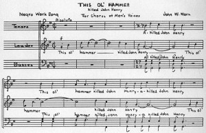 "Musical transcription of the folk song, ""This Ol Hammer."""