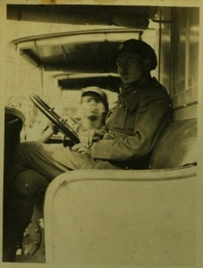 Longshaw Porritt at the wheel of an ambulance in Italy, World War I. Longshaw Kraus Porritt Collection, Veterans History Project, AFC2001/001/86295.