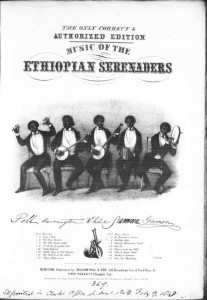 Buffalo Gals sheet music cover showing minstrels in black face. Music Division. Select the photo for more information and to view the music.