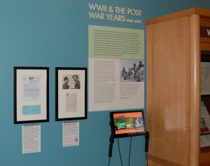 World War II section. Toward the bottom of the photograph you can see the multimedia tablet on which AFC oral history interviews can be played. Photograph by Stephen Winick.