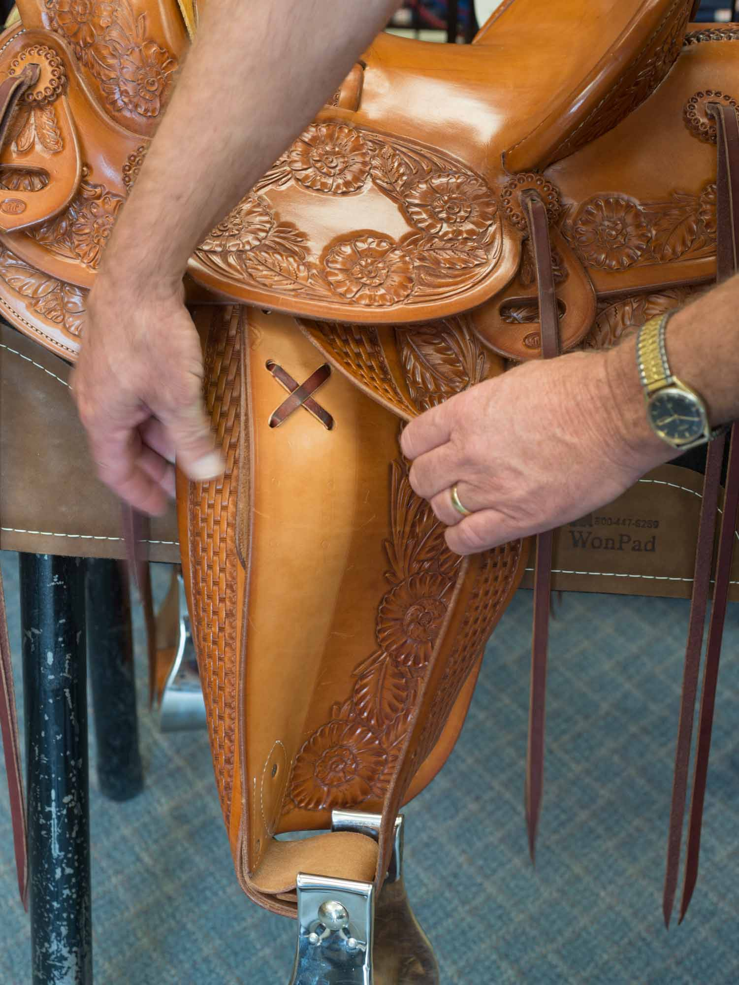 Ken provides another view of this saddle's unusual double stirrup leathers.