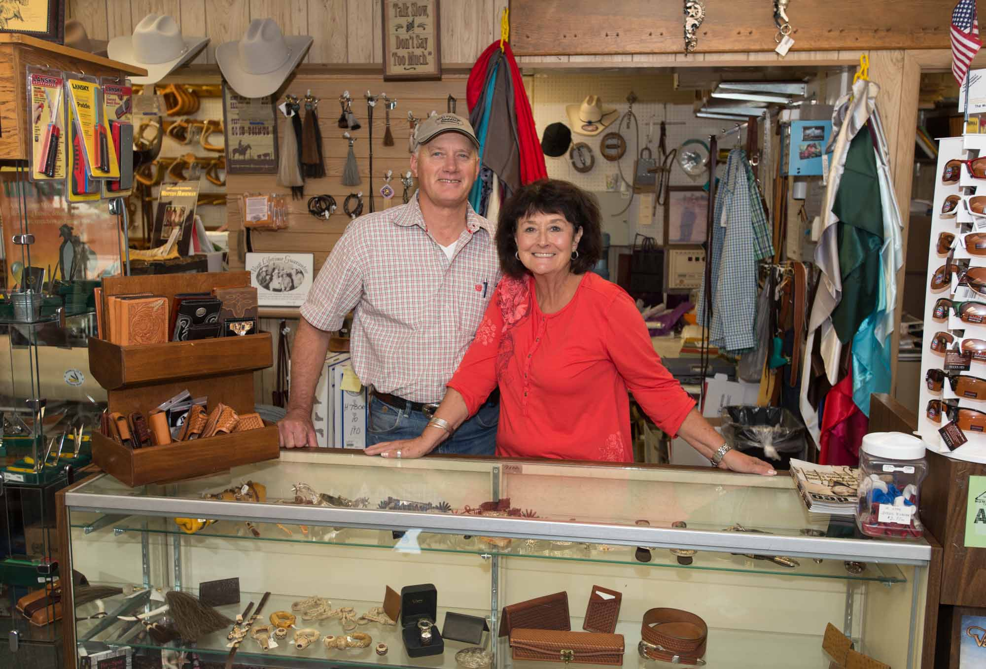Ken and Cathi Tipton in their store, Tip's Western, in Winnemucca, Nevada.