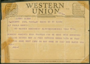 Telegram from Jose Mares to his parents announcing his imminent arrival. August, 1953. Jose Mares Collection. AFC/2001/001/6059.