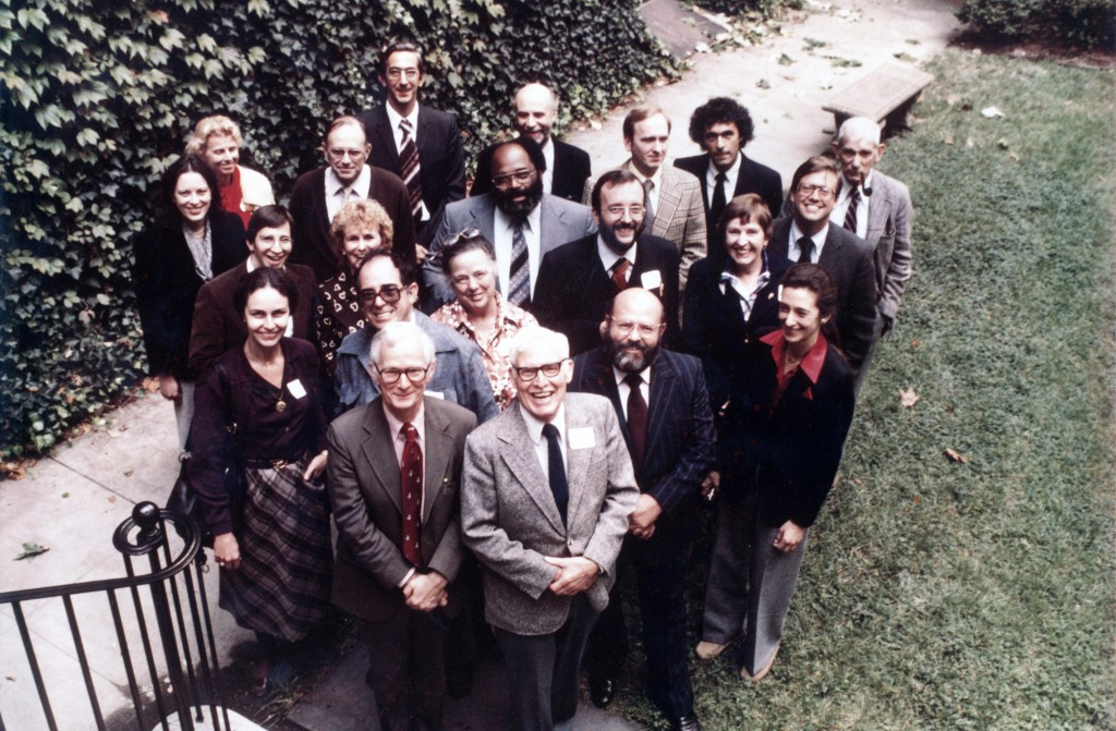 This large group of folkorists, including Don Yoder (front left), and Wayland Hand (front right), as well as David Hufford, Bess Lomax Hawes, Steven Zeitlin, Bill Wiggins, Beverly Stoeltje, and others, visited the Library for a conference on Folk Customs in 1980. AFC staff member Peter Bartis is in the back! Personal collection of Peter Bartis.