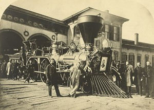 An engine used for President Abraham Lincoln's funeral train. A steam locomotive with a portrait of Lincoln on the front.