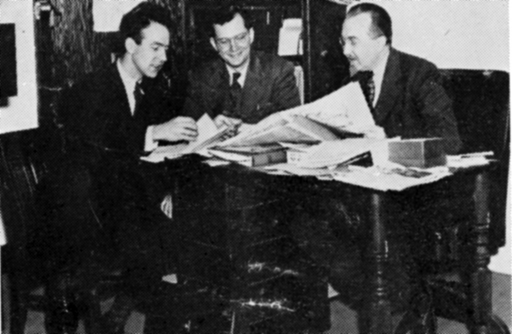 J. William Frey, Don Yoder, and Alfred Shoemaker, founders of the Pennsylvania Dutch Folklore Center and Folk Festival at Franklin and Marshall College, C. 1955. Photo from the 6th Annual Pennsylvania Folk Festival Program, AFC Subject Files.