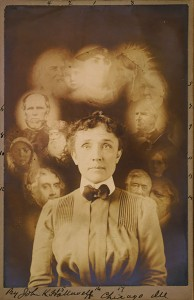 Seance Spirit Photograph showing a woman with gostly images of faces around her head.