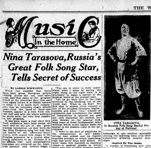 Newspaper clipping with a photograph of Nina Tarasova in Russian men's traditional costume.