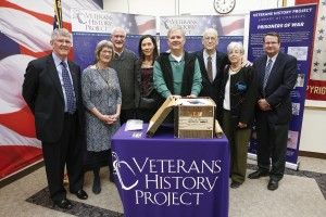 Family members of the late Lt. George W. Pearcy donate collection items, including Pearcy's diary which was smuggled out of a Japanese POW camp, to the Veterans History Project during a ceremony, December 11, 2015. Photo by Shawn Miller.