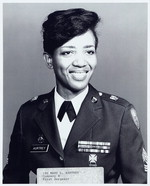Photograph of Vietnam veteran Mary L. Aurtrey featured on the Hartsfield-Jackson Atlanta Airport tribute wall. Mary L. Aurtrey Collection, Veterans History Project AFC/2001/001/17795.