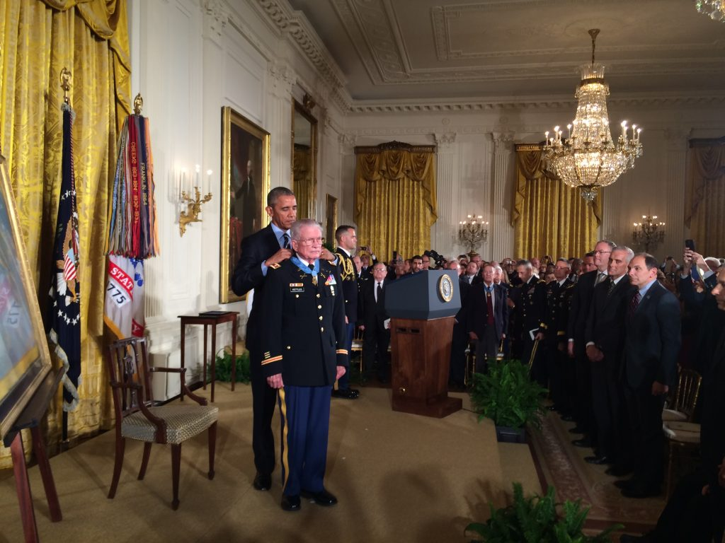 Lieutenant Colonel Charles S. Kettles, USA, Retired, receives the Congressional Medal of Honor from President Barack Obama on July 18, 2016.