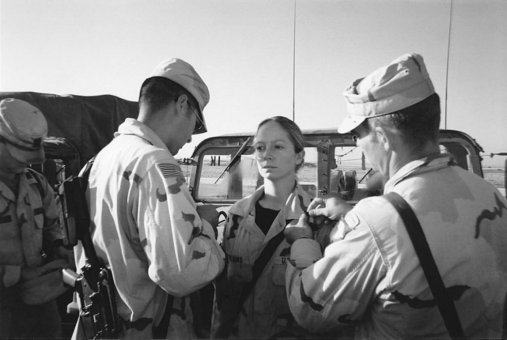 Kayla Williams getting promoted to Sergeant in Tal Afar, Iraq, December, 2003.