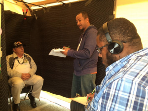 Volunteer interviewers Avery Christmas and Walter Ryce interview veteran John Franklin Gay, Monterey County Stand Down, Seaside, California, 2016.